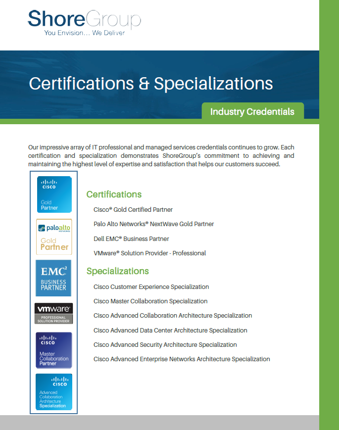 Cover ShoreGroup Certifications