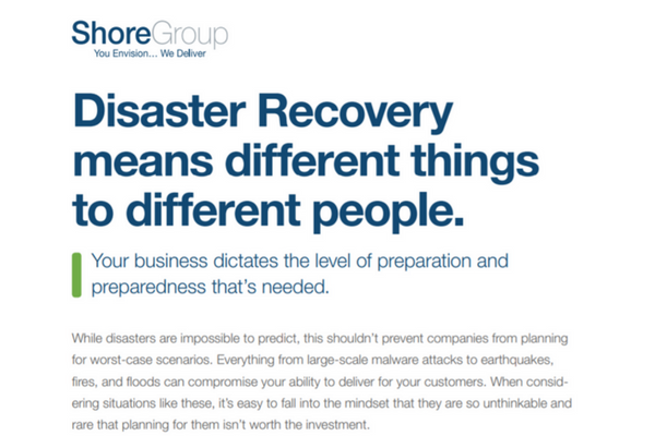Disaster Recovery Datasheet Cover