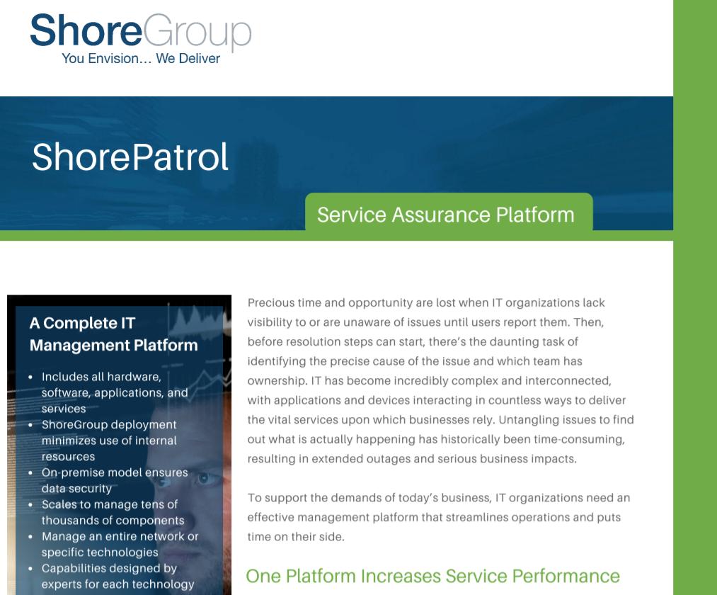 ShorePatrol_Service_Assurance_Platform_Datasheet_Cover_Page