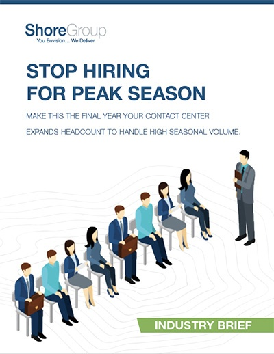 stop hiring for peak season industry brief cover page with people sitting in chairs looking at manager graphic